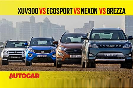 XUV300 vs EcoSport vs Nexon vs Vitara Brezza comparison video