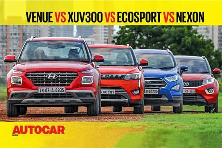 Hyundai Venue vs Mahindra XUV300 vs Ford EcoSport vs Tata Nexon comparison video
