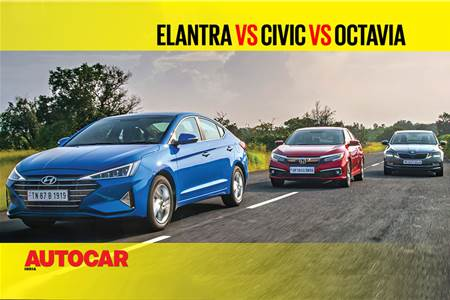 Hyundai Elantra facelift vs Honda Civic vs Skoda Octavia comparison video
