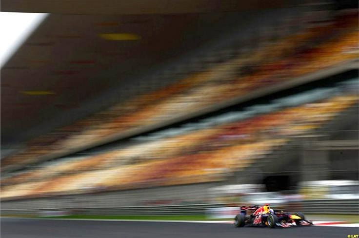 Practice can be a lonely time at a circuit like Shanghai. It's no problem for Vettel; his focus is on dialling the car in and gathering tyre data.