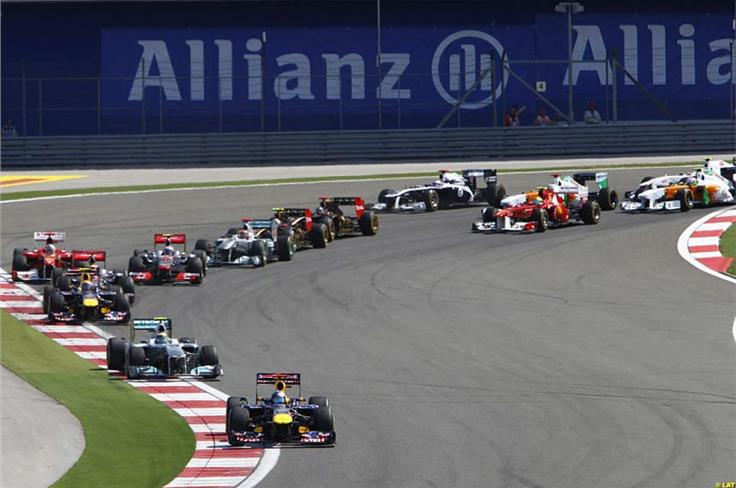 Vettel leads from Rosberg at the start in Turkey, but the Mercedes challenge falters as Mark Webber and Fernando Alonso dispute second in arrears of the German.