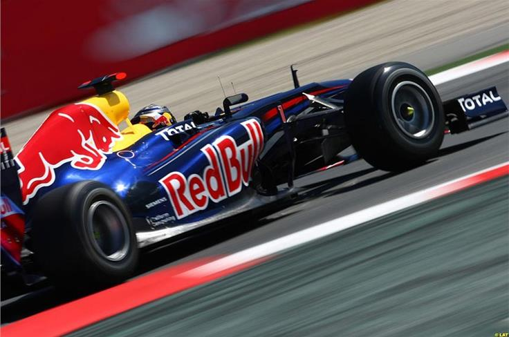 Once on-track, he gets down to the business in hand, but this time it's his team-mate Webber on pole in Spain.