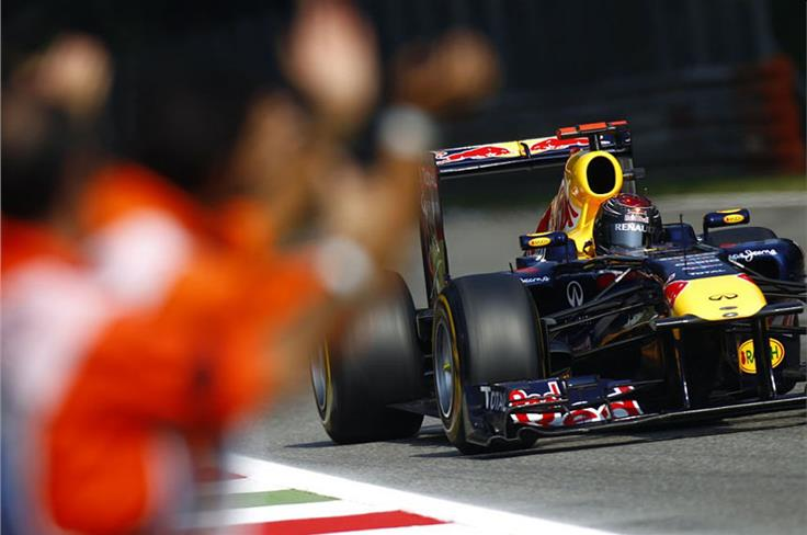 A decision by Red Bull to gear the car for acceleration out of the slow chicanes pays off big-time, but it still requires a ballsy pass on Alonso on the grass to seal victory.