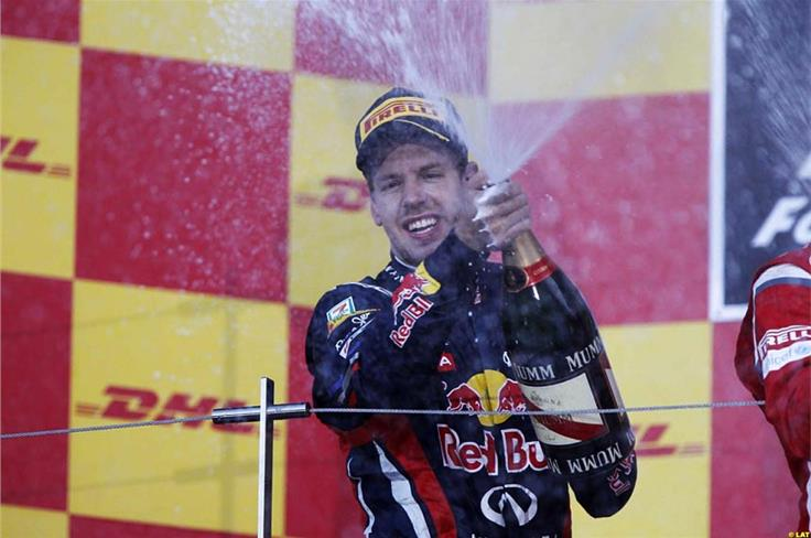 He may not have wanted to only finish third in the race, but with another title in his pocket, Vettel still had more than enough to celebrate on the Suzuka podium.