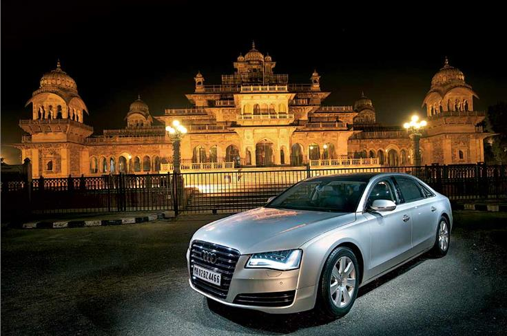 February 2011: NEW AND OLD WORLD CHARM - The striking, new-age Audi A8 L is parked pretty across the Albert Hall Musuem of antiques. Tradition and modernity meet spectacularly.