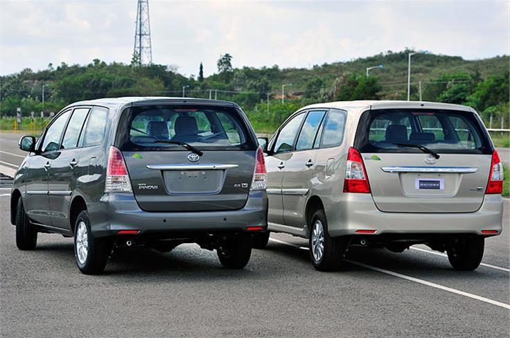 The current Innova (l) vs the face-lift Innova.
