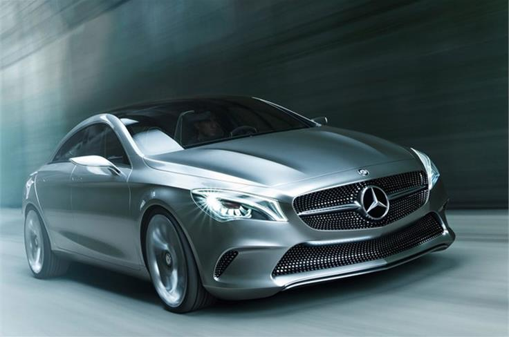 This is the Mercedes CSC concept. It previews Mercedes' upcoming CLA saloon, which is tipped to go into production in 2013.