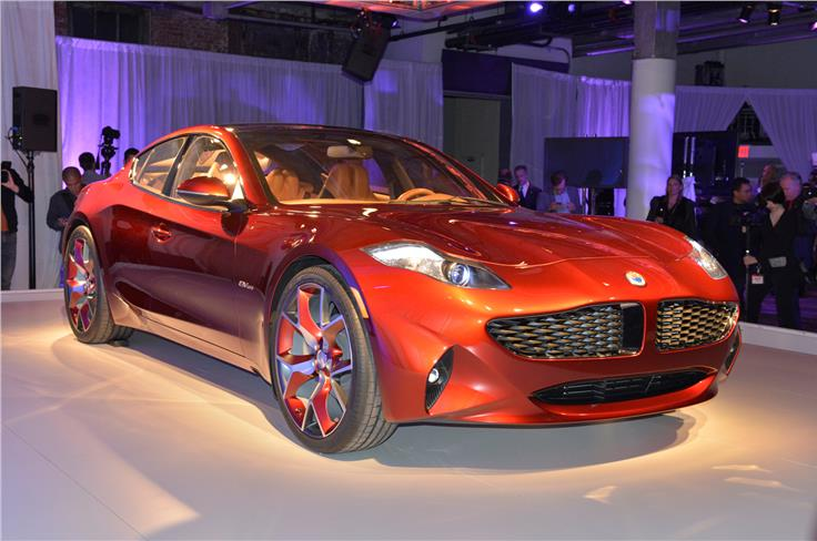 The Fisker Karma is on show at New York despite the company's recent woes