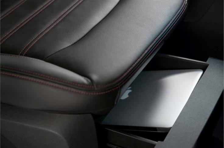 Front seats have under-seat storage space, a rather useful feature