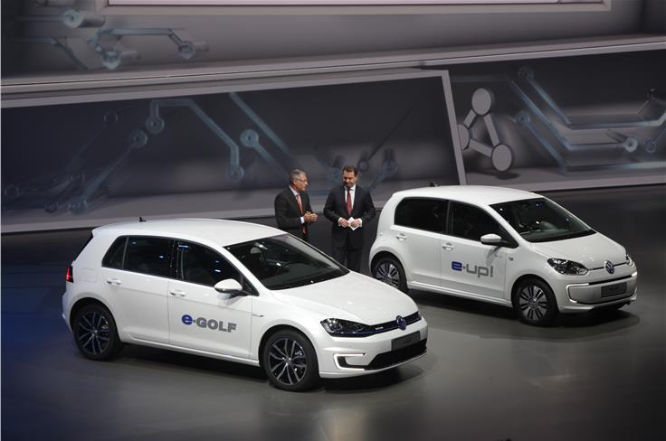 VW unveiled electric versions of the Golf and Up.