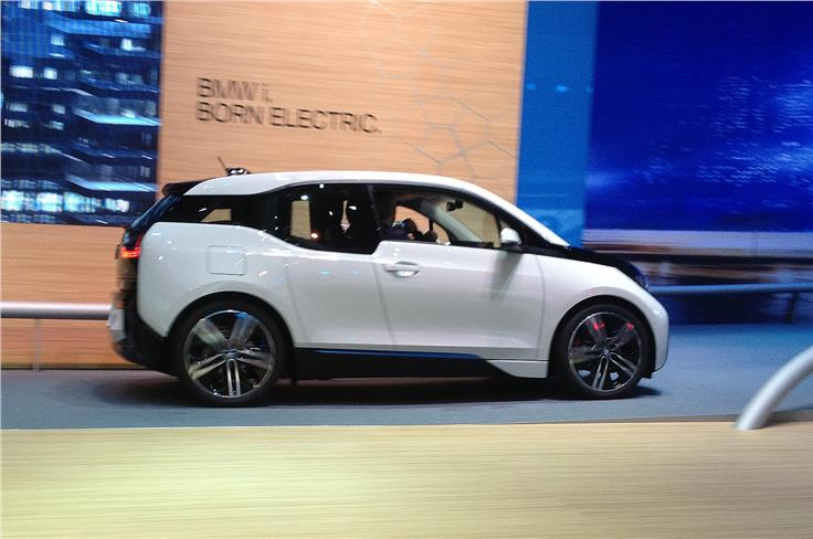 The BMW i3 made its first public appearance at the Frankfurt show.