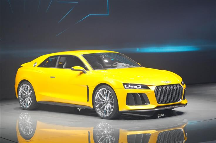 The Audi Sport Quattro coupe concept features a bi-turbo V8 and electric motor with plug-in capability.