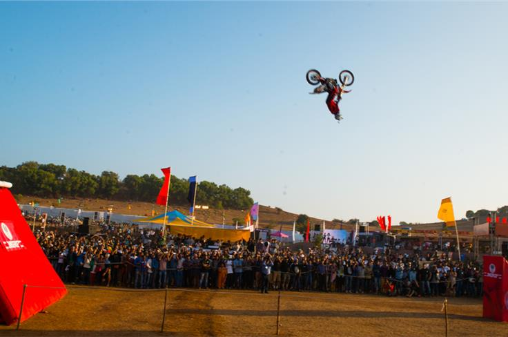 The MRF Freestyle Motocrossers. Upside down at 30 feet! Photo credit: Mehdi