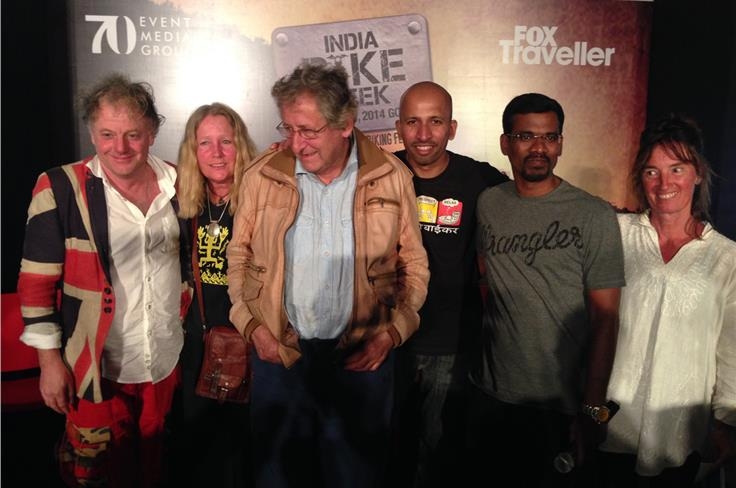 L-R: Nick Sanders, Eliza Massey, Ted Simon, Jay Kannaiyan, Bharadwaj Dayala, Lorraine Chittock. All been around the world on two wheels.