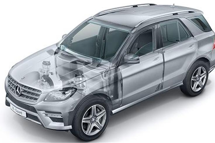 The Mercedes stand will also have a very special version of the ML SUV from its 'Guard' line of special protection cars.