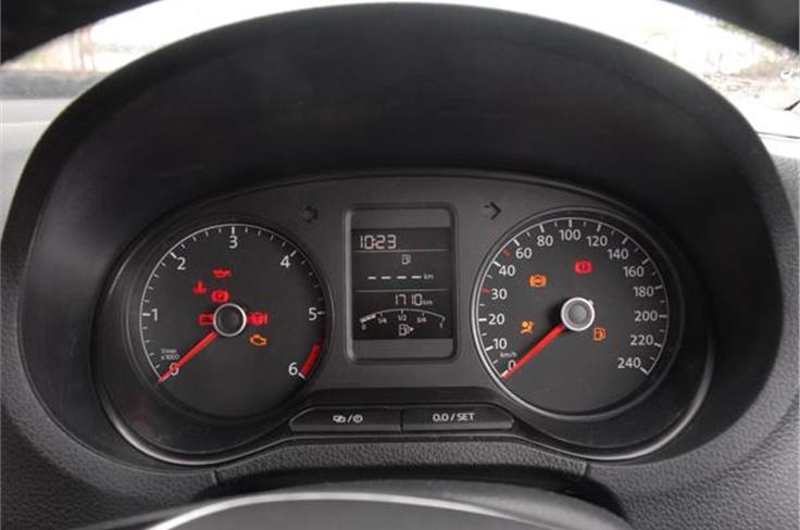 The instrument cluster remains the same, although the red multi-information display between the speedo and tacho is now in blue.
