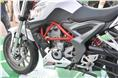 The new TNT 25 has a 249cc, single-cylinder and liquid-cooled engine, mounted on to a red trellis frame.