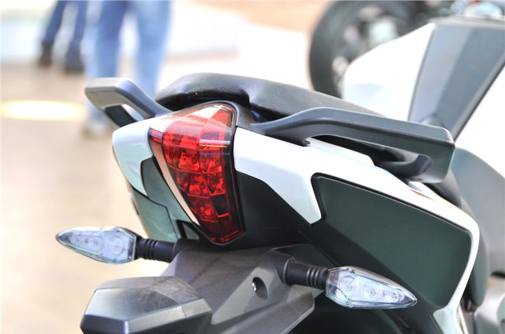 Tail light design is different from the TNT 300, grab handles are finished in black.