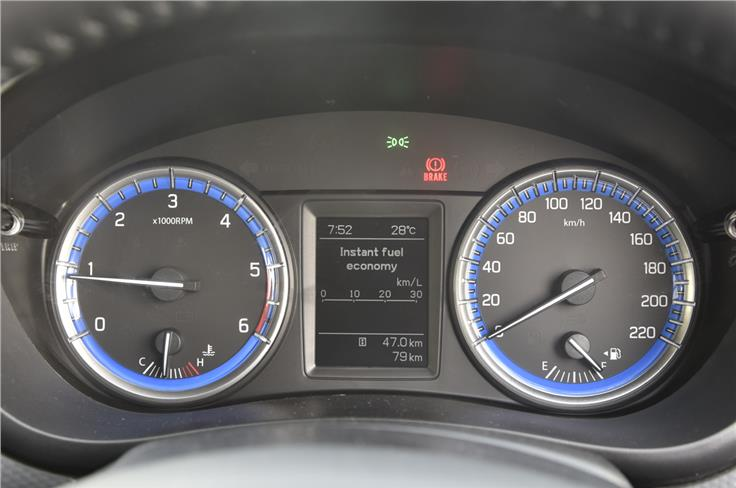 The instrument cluster consists of twin-dials finished in blue with a multi-information display in the centre.