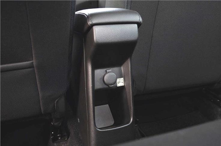 Rear seat passengers have access to a 12V charging socket.