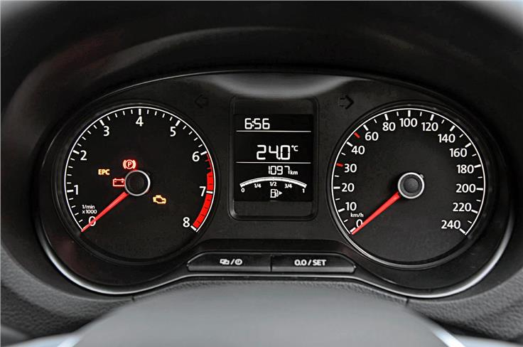 Big, clear dials are easy to read. Centrally located MID houses the fuel gauge, odometer and outside temperature readout.