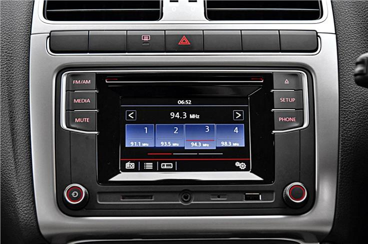 The touchscreen infotainment system, while a bit small, comes equipped with Bluetooth, USB, SD card reader and MirrorLink.