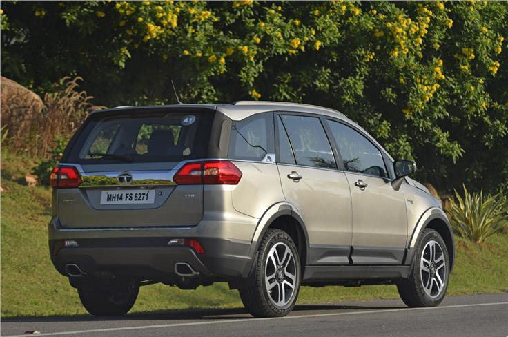 LED elements for the brake lights, boomerang-shaped reflectors on the bumper, dual exhausts and a large scuff plate also do much for the Hexa's strong-shouldered look.