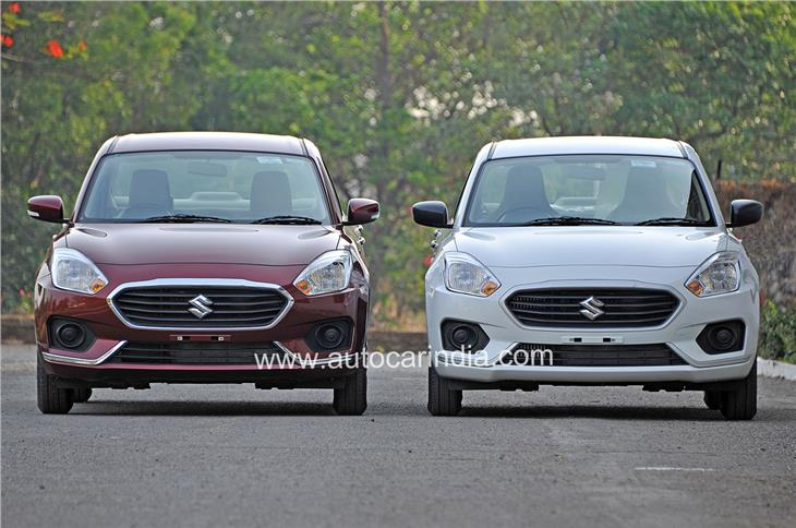The base Dzire (right) gets silver trim bits in place of chrome as on the higher variants, and black door mirrors.