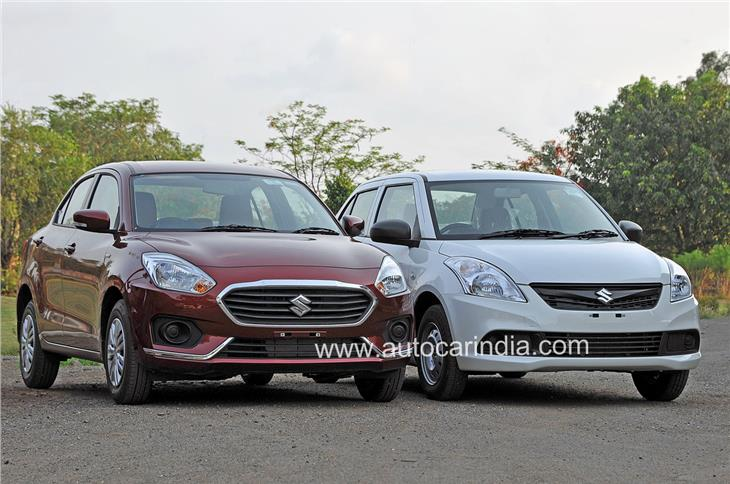 Compared to the older car(right), the new Dzire gets a steeply raked A-pillar and a better flowing profile.
