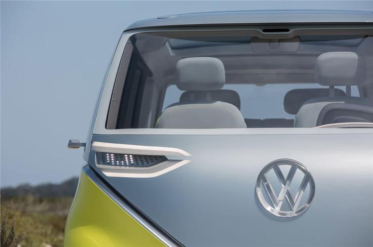 The Volkswagen ID Buzz's headlamps.