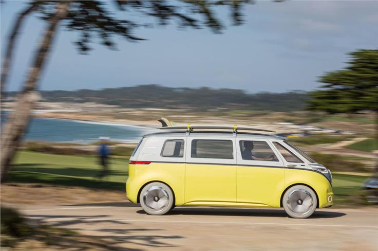 The ID Buzz is styled on the old Volkswagen Type 2, but the machine is all new, with and electric powertrain and autonomous tech.