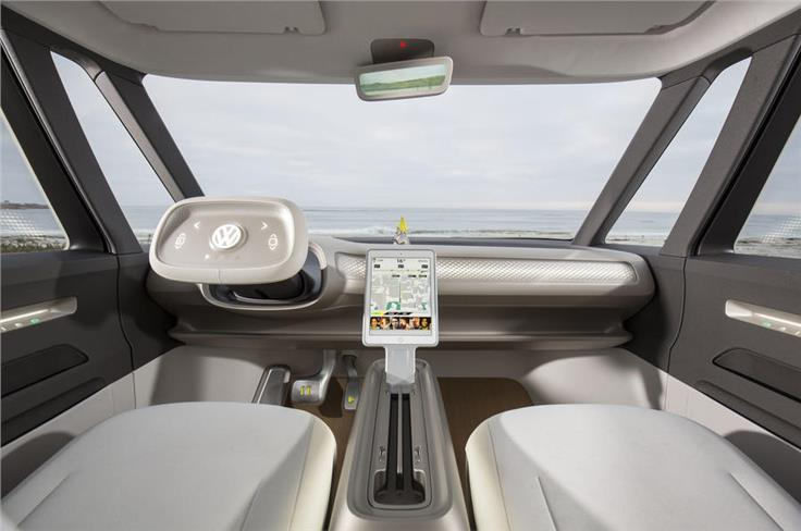 The concept features a retractable, touch sensitive steering wheel.