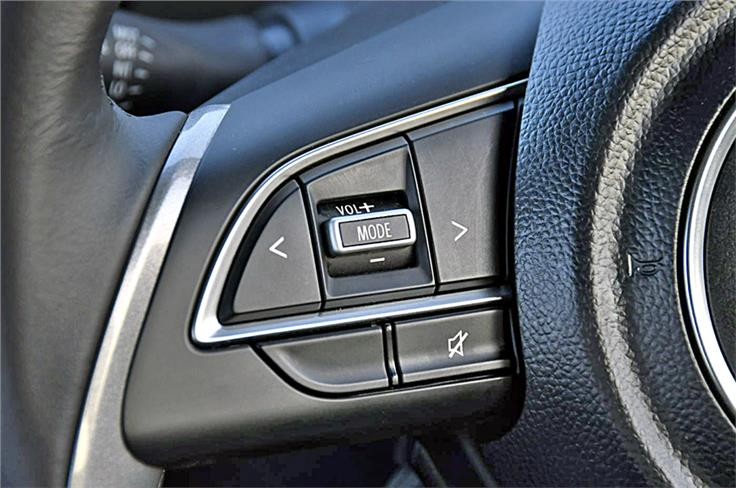 Steering buttons shared with newer Suzukis such as the Ignis and Dzire.