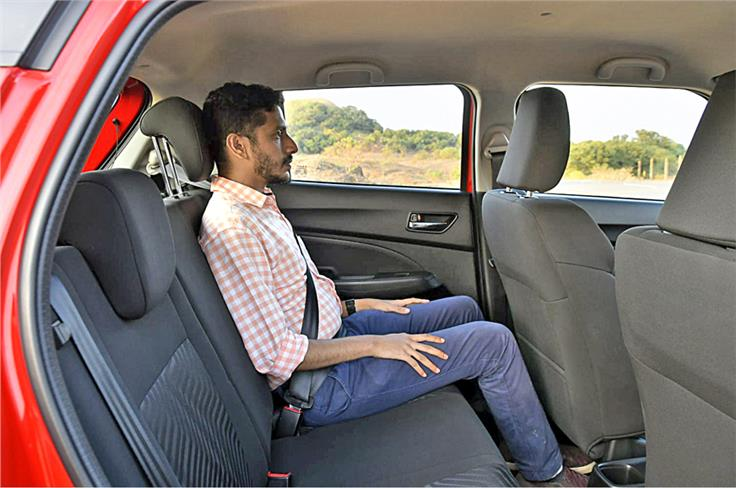 The new Swift is wider and comes built on a marginally longer wheelbase. Maruti claims headroom has been enhanced as well. The biggest beneficiary? Rear seat space.