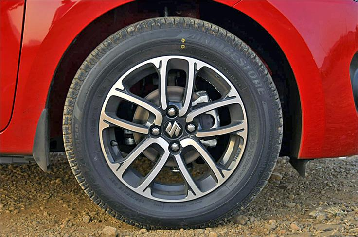 L and V trim Swifts come with 165/80 R14 tyres while Z and Z+ versions get 185/65 R15 tyres as pictured here.