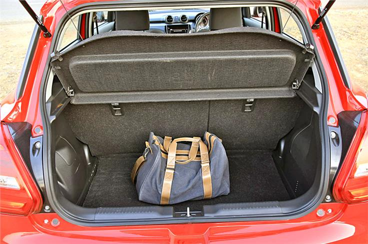 The boot has a capacity of 268 litres, a full 58 litres more than the last-gen Swift. Higher-spec models also get 60:40 rear seat split.