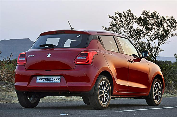 Rear styling is a departure from the older Swifts. Prominent lip on tail gate adds muscle to design.