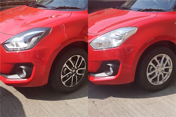Spot the differences. On the left is the top-spec Swift with blackened headlamp cluster, LED headlights and 'precision cut' dual-tone 15-inch alloy wheels. On the right is a lower variant model with simpler halogen headlamps and smaller 14-inch alloy wheels.