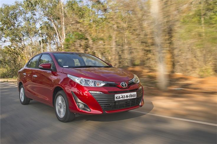 Toyota Yaris has a slightly stiff suspension that allows it to take bad roads in its stride.