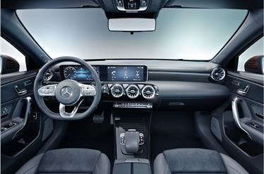 Inside, A-class sedan gets Merc's new MBUX system with touchscreen and speech recognition.