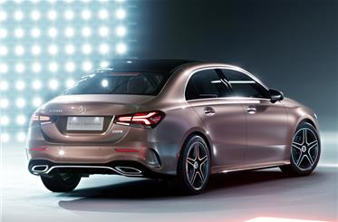Rear end of the A-sedan is reminiscent of the latest third-generation Mercedes-Benz CLS