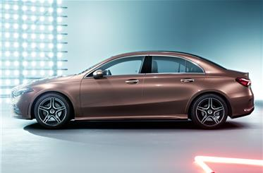 China-specific long-wheelbase A-class L sedan gets added length within the rear door.