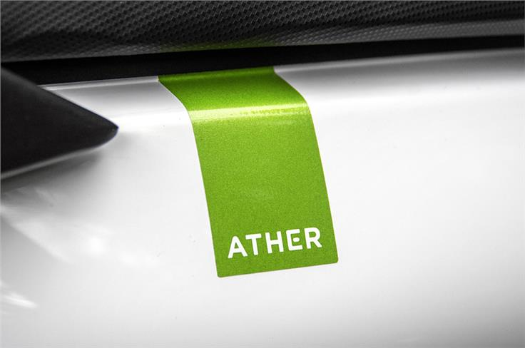 Minimalist branding adds to the Ather 450's clean design.