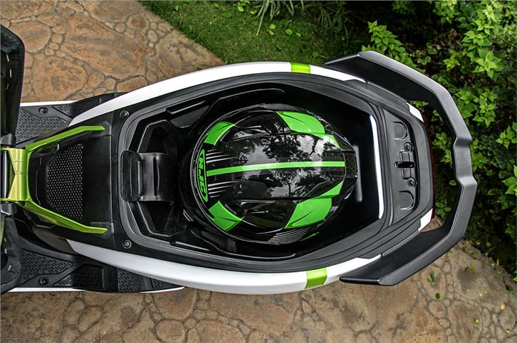 Storage bay can accommodate a full face helmet although not all shell sizes.