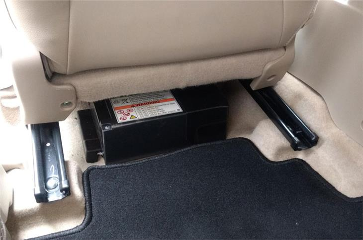 Lithium-ion battery pack under the front passenger seat that runs start-stop and torque assist functions.