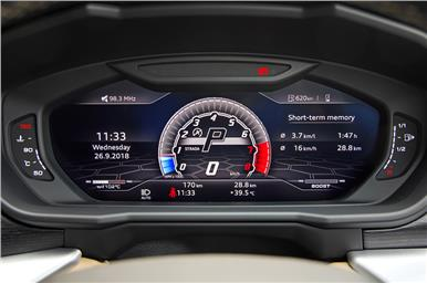 Digital instrument cluster displays all pertinent the info.
