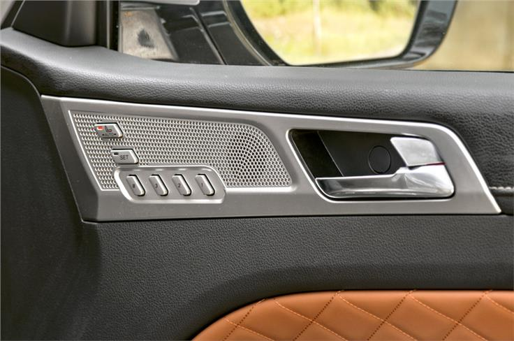 Powered seats with memory are part of the Alturas' feature list.