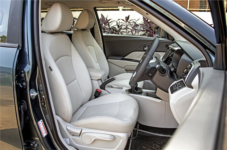 XUV300 W8 (O) comes with leatherette seating surfaces.