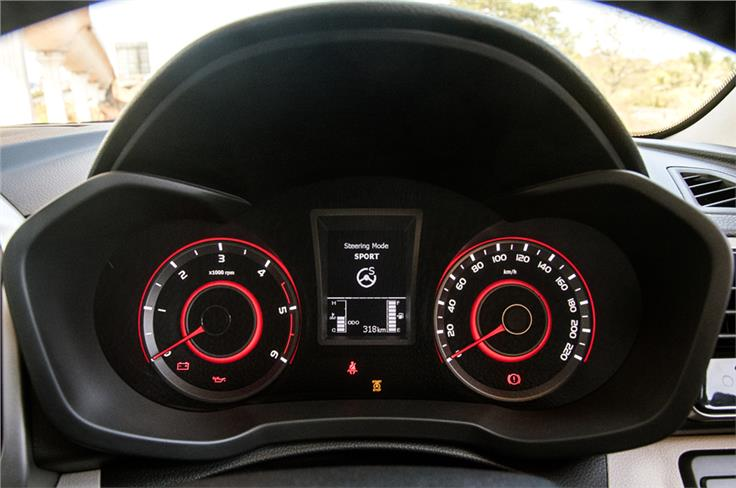 The XUV300 gets three modes for the steering – Normal, Comfort and Sport – a segment-first feature.