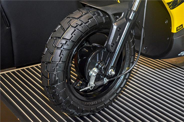 The Storm gets a drum brake at either end and chunky off-road tyres.